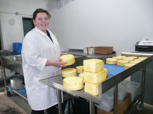 Lydia waxing smoked cheese