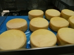 Smoked cheese getting a clear 'undercoat' of wax