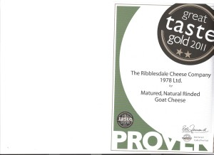 Natural rinded matured goat cheese certificate