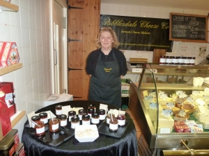 Iona doing a cheese tasting at Country Harvest, Ingleton