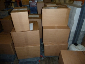 Boxes of orders to go out on Monday