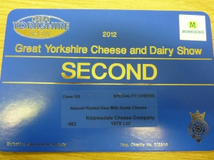 Second Prize at the Yorkshire Show for our Unpasteurised Goat cheese