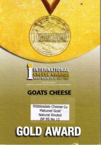 Our Nantwich Gold Award for Matured Natural Rinded Goat cheese