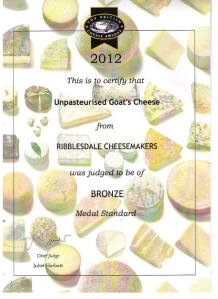 British Cheese Awards Bronze for Ribblesdale Cheese Unpasteurised Goat