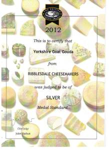 British Cheese Awards Silver for Ribblesdale Cheese Goat Gouda (Superior Goat)