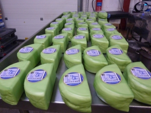 Labelled green halves of our award winning Yorkshire Goat Gouda: Superior Goat