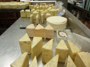Waxed wedges of blended cheeses for Christmas boxes