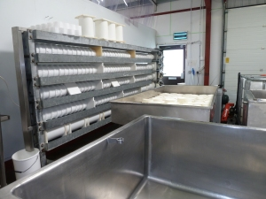 Aaah.....all cheese in the press, gouda out on the table draining to vac pack the next day, Saturday and a cleaned down dairy