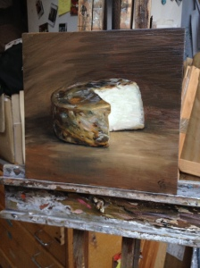Ribblesdale Matured Natural Rinded Goat cheese, painted by Christian Furr, hot off the easel