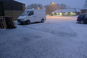 Snow outside our unit at 5.30pm Tuesday 11th Feb 2014